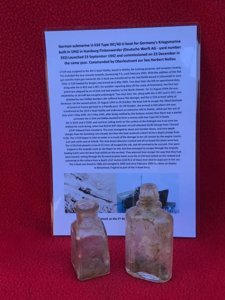 German 2 small clear glass bottles,one maker marked recovered from U-Boat U534 which was sunk on the 5th May 1945
