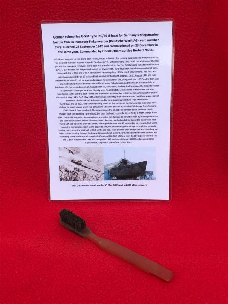 German crewman's tooth brush,nice condition original colour recovered from U-Boat U534 which was sunk on the 5th May 1945,near Norway