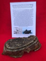 German crewmen's mess tin lid with a lot of black paint work recovered from U-Boat U534 which was sunk on the 5th May 1945