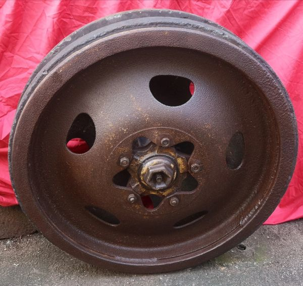 Pair of Track wheels and hub nice condition,maker marked tyres from Schwerer Wehrmachtschlepper halftrack of the 116th Panzer Division recovered from near Houffalize in the Ardennes 1944-1945 battle