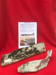 Pair of aluminium airframe panels with green paintwork,nice condition from RAF Spitfire K9993 shot down on the 20th September 1940 and crashed at West Hanningfield in Essex