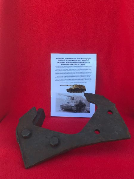 Armoured plated bracket with original paintwork from a German Nashorn tank destroyer recovered in the Kurland Pocket 1944-1945 battle in Latvia