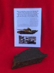 Section of 30 mm thick armoured plate from the front under belly of German Panther tank from SS Division or Corps Tank which was defending Hill 112 near Caen in Normandy 1944 battle