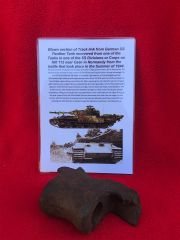 Blown section of track link pin hole from German Panther tank from SS Division or Corps Tank which was defending Hill 112 near Caen in Normandy 1944 battle