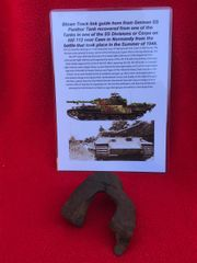 Blown ripped and bent track link guide horn from German Panther tank from SS Division or Corps Tank which was defending Hill 112 near Caen in Normandy 1944 battle