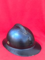 Belgium Army M26 Adrian helmet over painted black for civil defence use,numbered with initials inside found in Bruges from the battle of Belgium the May in 1940