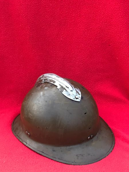 French Army M26 Adrian helmet no badge original paintwork and leather chin strap and named on the inside by war time owner found in Bruges from the battle of Belgium the May in 1940