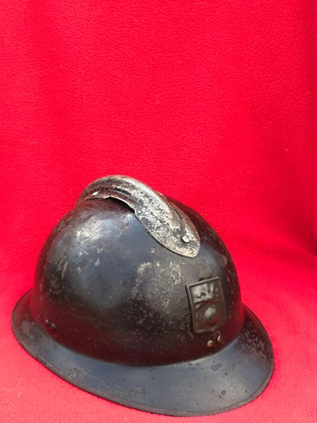 French M1926 Adrian helmet with Defense Passive badge used by civil defence groups,original paintwork found in Bruges from the battle of Belgium the May in 1940