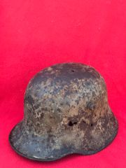 Very Rare German stormtroopers M18 helmet,fantastic relic with original paintwork recovered from Marrett wood the battle of 27-28 March 1918 during the battle of Dernancourt