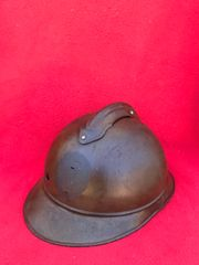 Belgium soldiers M15 Adrian helmet semi-relic condition missing its badge,with impact hole battle damage possibly sniper hit found on the Ypres battlefield in Belgium 1914-1918