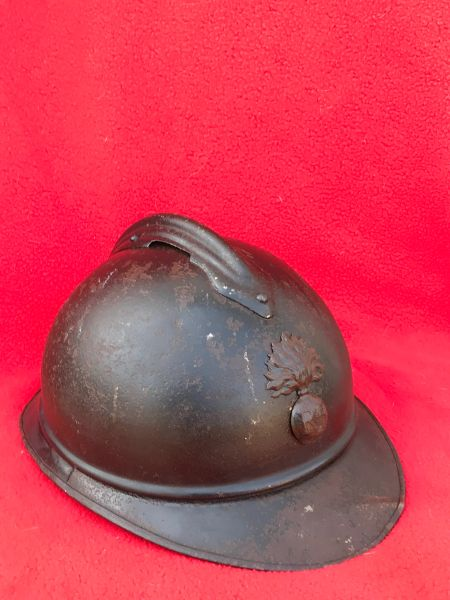 French infantry soldiers M15 Adrian helmet,nice condition original paintwork,badge,leather liner remains found on the Verdun battlefield 1914-1918