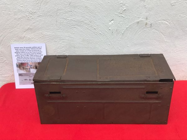 British army 25 pounder artillery gun 4 shell case carry box dated 1938 with paper label,semi-relic condition found in 2017 on Farm at Doornik in Belgium used by British artillery guns 1940 defending Dunkirk