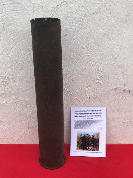German steel shell case 88mm fired by flak 36/37/41 gun of Panzer Grenadier Division Kurmark recovered in Carzig south of the Seelow heights the 16-19 April 1945 battlefield