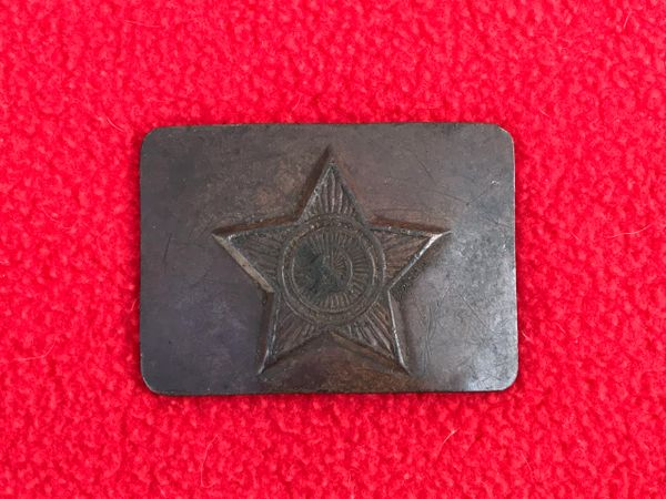 Russian Army soldiers belt buckle brass made with star,relic squashed flat and a bit dirty and discoloured recovered the Demyansk Pocket Battlefield in Russia 1941-1942 battlefield