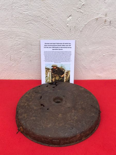 German Anti Tank Tellermine 43,relic condition recovered from Death Valley near Hill 112 the battle part of operation Epsom on the Normandy battlefield of 1944