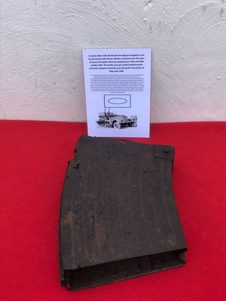 German 20mm Flak 30/38 Anti-Aircraft gun magazine with internal tray,relic condition,original paintwork remains used by the German 6th Panzer division recovered near the town of Cassel the battle fought from 27th until 30th of May 1940,Dunkirk pocket