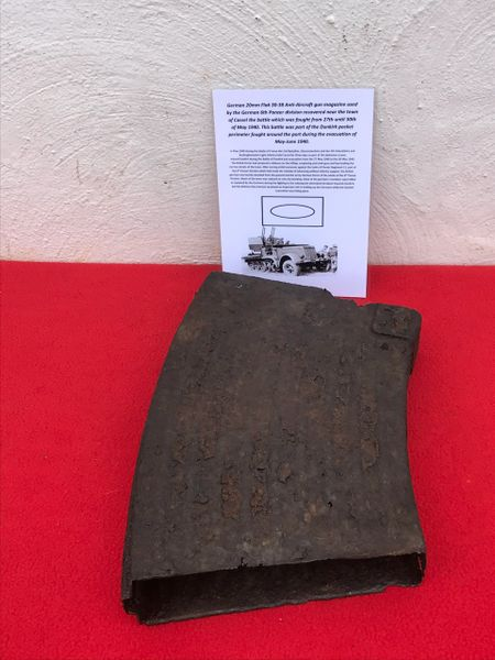 German 20mm Flak 30/38 Anti-Aircraft gun magazine,relic condition, small amount original paintwork remains used by the German 6th Panzer division recovered near the town of Cassel the battle fought from 27th until 30th of May 1940,Dunkirk pocket