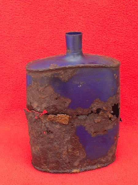 British Soldiers Water Bottle,nice relic condition original blue colour recovered in the area that was Guillemont Station on the July-August 1916 battlefield on the famous Somme battlefield of 1916.