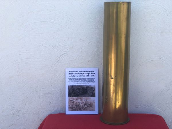 German 10cm brass shell case dated August 1918,very nice condition fired by 10cm K/04 field gun found on the Somme battlefield 1916-1918