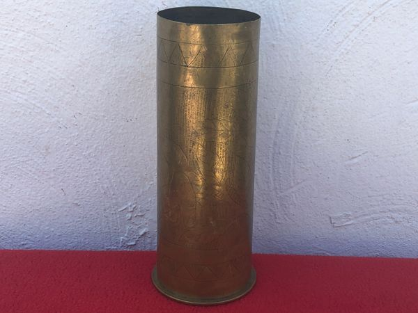 German 77mm shell case trench art nice flower with triangles design dated February 1917 found on The Somme battlefield