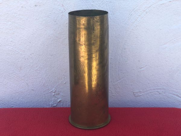 German 77mm shell case trench art flower and leaf design dated April 1917 found on The Somme battlefield