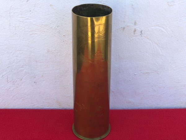 French 105mm Artillery Brass Case turned in to trench art with a scratched flower souvenir 1914-1919 design dated 1917 found on the Somme battlefield 1916-1918