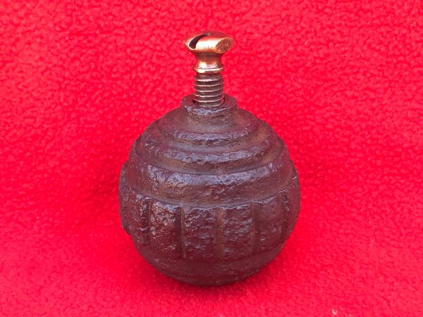 German 1915 pattern Kugel hand grenade with fuse,nice condition relic recovered in 2016 from Regina Trench near Courcelette on the Somme battlefield of October 1916
