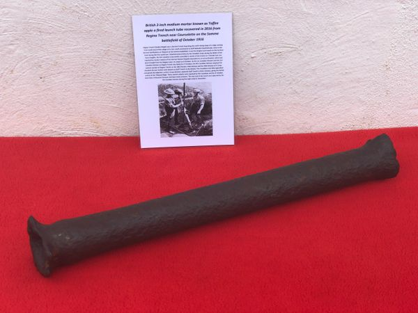 British 2 inch medium mortar or better known toffee apple a fired launch tube recovered in 2016 from Regina trench defensive position near the village of Courcelette the October 1916 battlefield,Somme