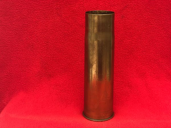 Rare brass shell case with scratched trench art design for British world war 1 QF 6 pounder Nordenfelt light 57 mm naval gun and coast defence gun