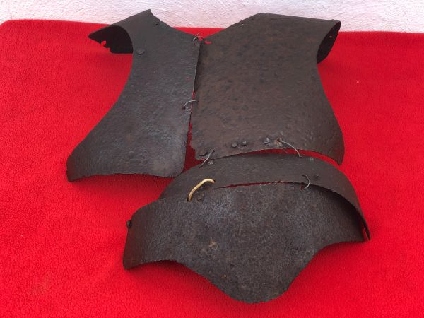 Very rare Russian soldiers body armour near complete set some original green paintwork recovered from Lutsk in the Ukraine from the Russian Brusilov offensive of summer 1916