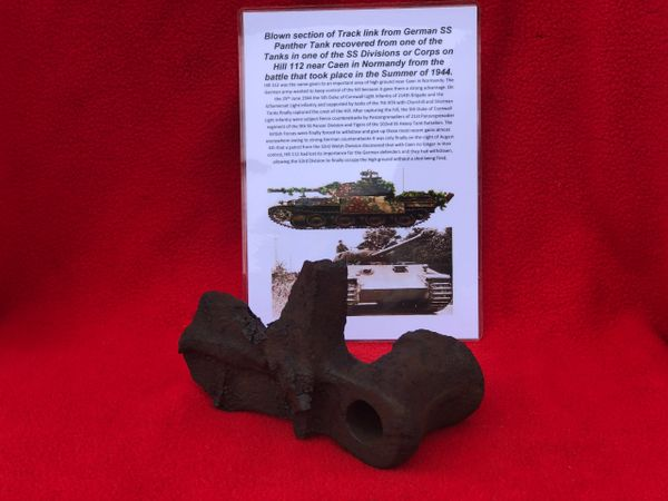 Blown centre section of track link from German Panther tank from SS Division or Corps Tank which was defending Hill 112 near Caen in Normandy 1944 battle