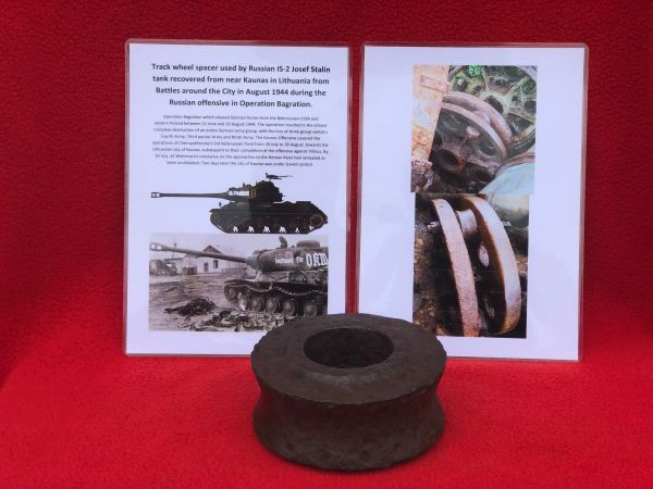 Russian IS-2 Josef Stalin tank main track wheel spacer recovered from Kaunas in Lithuania from Battles around the City in August 1944 during the Russian offensive in Operation Bagration