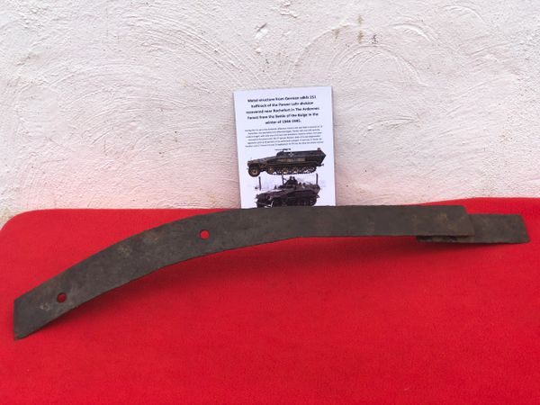 Metal structure bar with black paintwork remains,nice relic condition recovered from German sdkfz 251 half track of the Panzer Lehr division recovered from near Rochefort which was a village attacked on the 23rd December 1944,The Ardennes