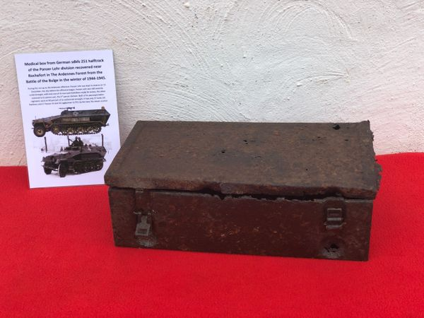 Vehicle medical box,nice relic condition recovered from German sdkfz 251 half track of the Panzer Lehr division recovered from near Rochefort which was a village attacked on the 23rd December 1944,The Ardennes