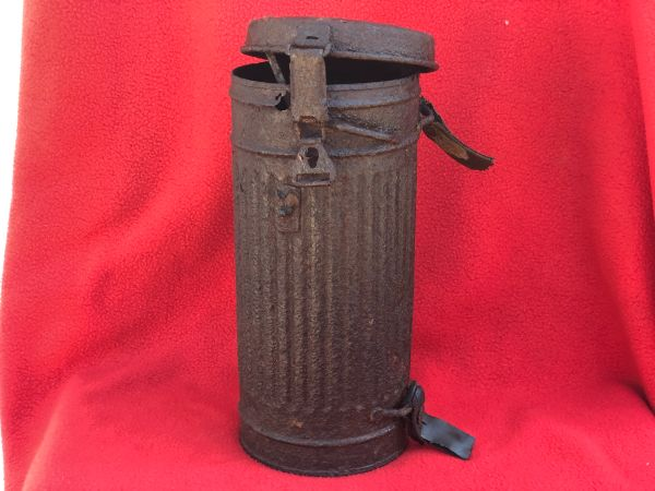 German soldiers gas mask tin relic but solid condition recovered from Death Valley near Hill 112 the battle part of operation Epsom on the Normandy battlefield of June 1944