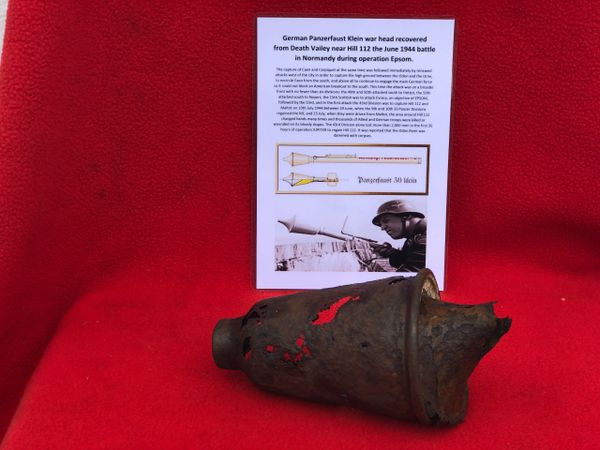 German panzerfaust klein war head remains recovered, Death Valley near Hill 112 the battle during operation Epsom in June 1944 on the Normandy battlefield