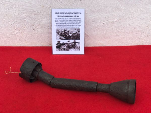 German panzerschreck anti-tank rocket launcher projectile near complete,nice condition relic recovered from South of Berlin in the area the 9th Army fought,surrendered in April 1945 during the battle of Berlin