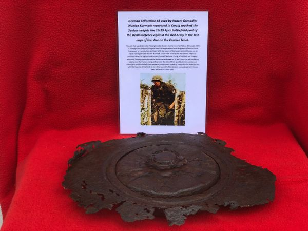 German tellermine 42 center plate used by soldiers of Panzer Grenadier Division Kurmark recovered, Carzig south of the Seelow heights the 16-19 April 1945 battlefield