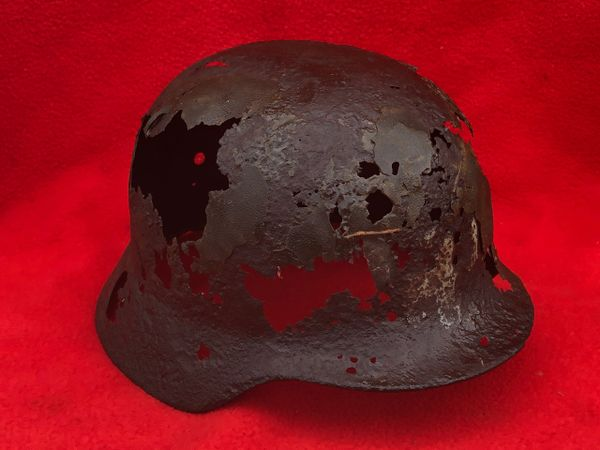 German soldiers M40 helmet with post war repair recovered from near the village of Plota which is south Prokhorovka ware the main tank battle was on the 12th July 1943 the site of Tank battle