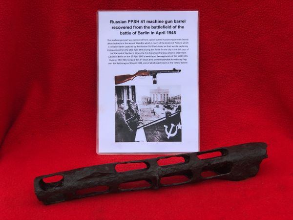 Russian soldiers PPSH41 machine gun barrel and cover belonging to soldier of the 3rd Shock Army recovered near district of Pankow in North Berlin captured by them on 23rd April 1945 during the Battle for the city in the last days of the War