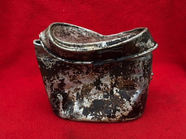German aluminium mess tin with original black paintwork remains used by soldier of the 77th Infantry Division recovered Mairle de Pleurtuit the battle for St malo port in August 1944,Normandy