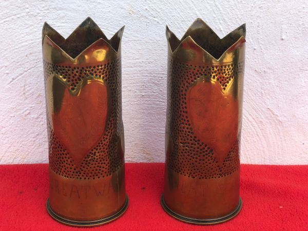 Matching pair of British 18 pounder brass shell case trench art battle of Arras,great war souvenir design in very nice condition dated 1916-1918