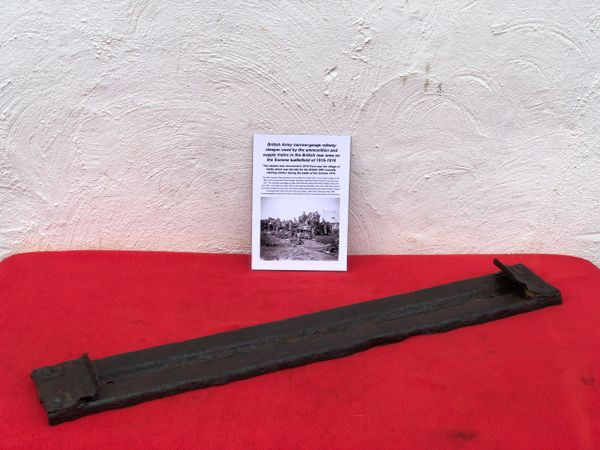 Very rare British Army narrow-gauge railway sleeper used by ammunition,medical and supply trains recovered in 2018 from Heilly site of 36th casualty clearing station on Somme battlefield 1916