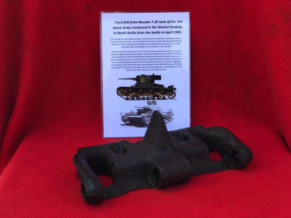 Track link used by Russian T-26 tank of the 3rd Shock Army ,maker marked nice solid relic,well cleaned recovered near district of Pankow in North Berlin in April 1945 during the Battle for the city in the last days of the War