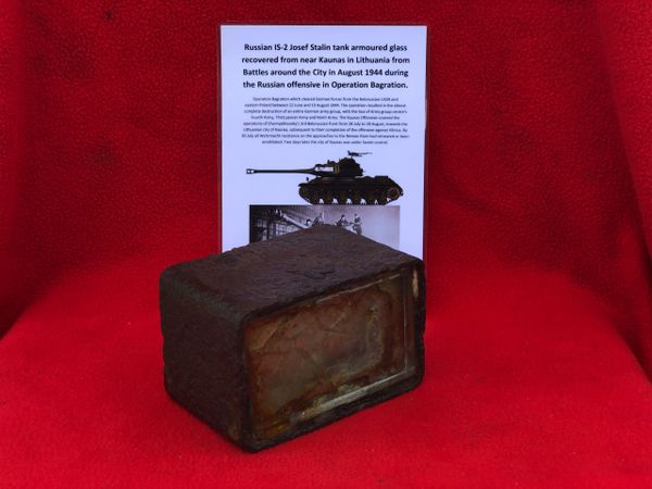 Russian IS-2 Josef Stalin tank armoured glass vision block recovered from Kaunas in Lithuania from Battles around the City in August 1944 during the Russian offensive in Operation Bagration