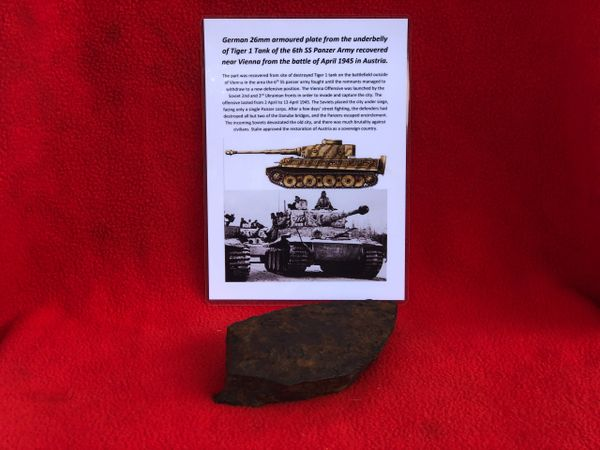 Section of 26mm armour plate from the underbelly of a German Tiger 1 Tank of the 6th SS Panzer Army recovered near Vienna from the battle of April 1945