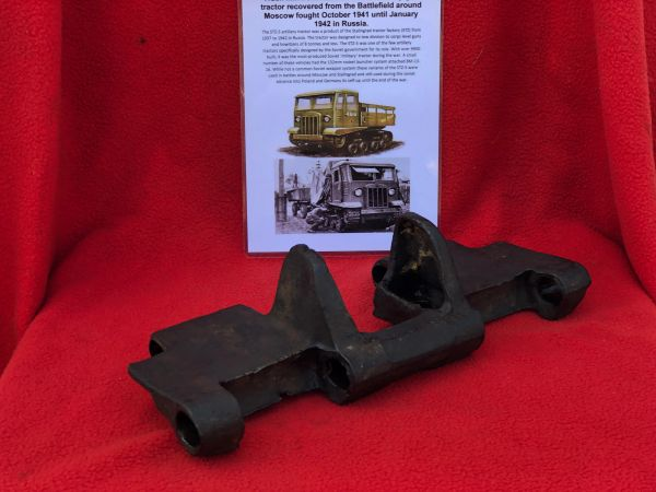 Track link complete,nice condition relic for a Russian STZ-5 artillery gun tractor recovered from the Battlefield around Moscow fought October 1941 until January 1942 in Russia.