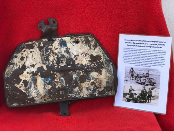 German vehicle number plate fantastic condition semi-relic recovered from the Demyansk Pocket near Leningrad in Russia 1941-1942 battlefield