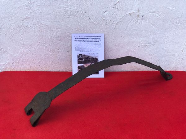 Rear metal lock down strap with some original green paintwork from destroyed Russian T34 tank of the 3rd Shock Army recovered from Wandlitz near Berlin the April 1945 battle for the city