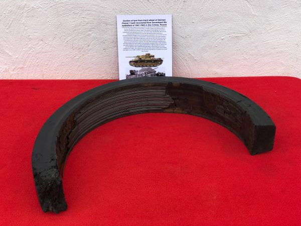 Section of tyre from track wheel used by German Panzer 3 Tank,size numbers and number stamps recovered from Sevastopol the battlefield of the Crimea in 1942